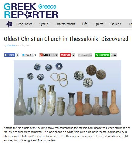 Greek Reporter report on the oldest Christian church in Thessaloniki discovered