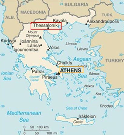 Map of Greece Showing Thessaloniki Relative to Athens